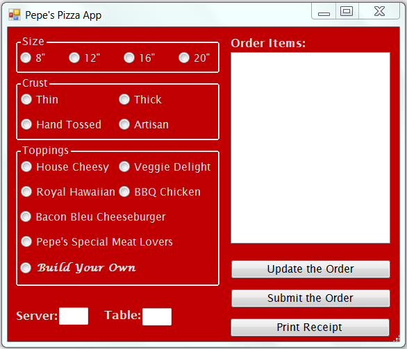 VB form for a pizza ordering app