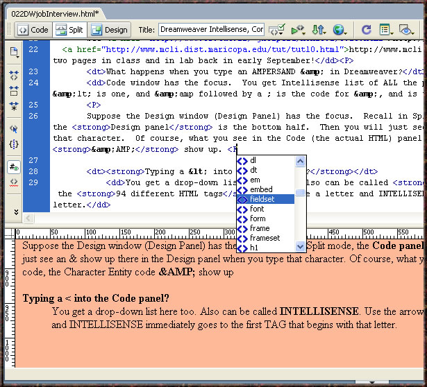 Dreamweaver Intellisense Context Code Split Design Special