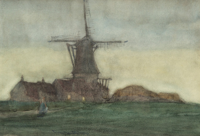 Dutch Windmill Near Amsterdam, Owen Merton, 1919