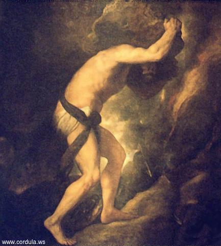 Sisyphus pushing a stone up a mountain
