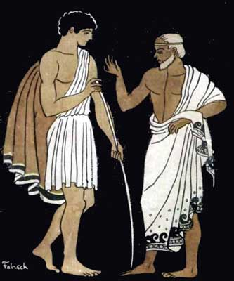 classic image of Telemachus and Mentor