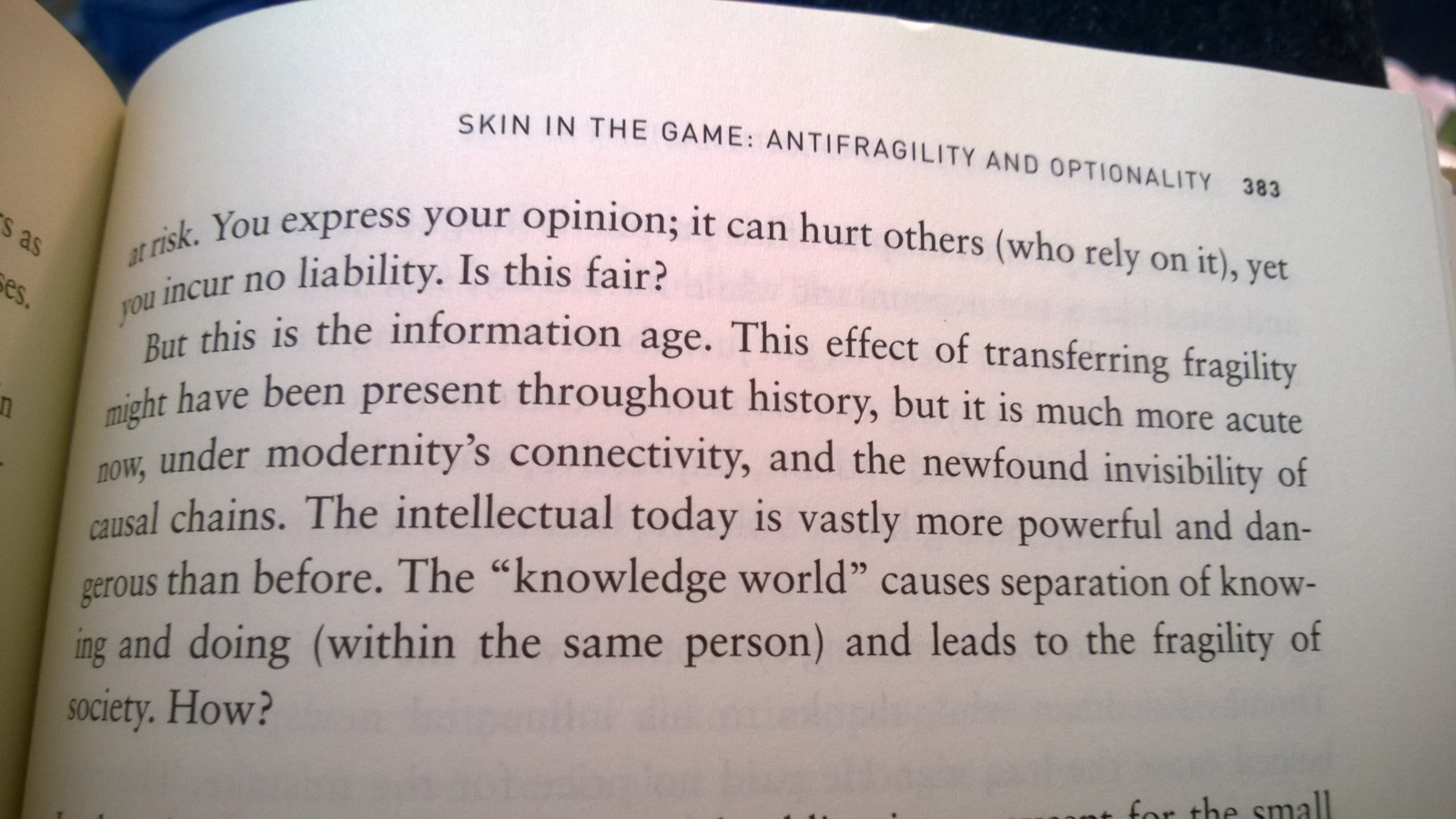 a passage from Taleb's 'Antifragile' that mentions knowing and doing