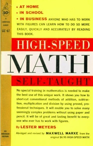 the cover of High-Speed Math Self-Taught, by Lester Meyers
