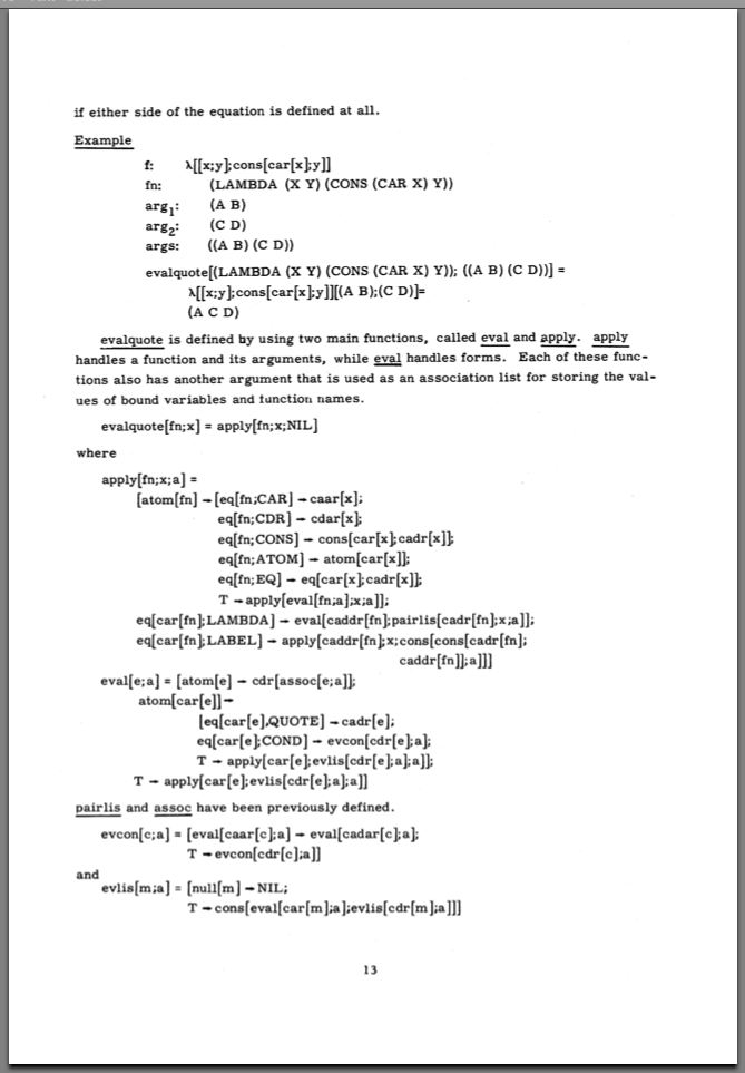 Page 13 of the Lisp 1.5 Programmer's Manual