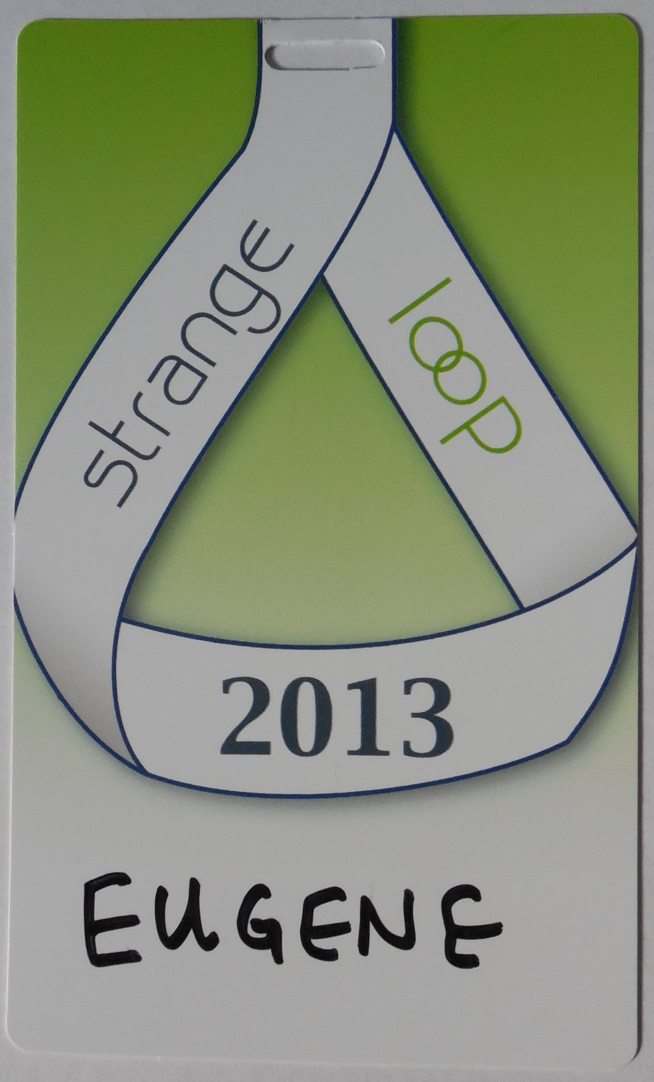 the front of my StrangeLoop 2013 badge