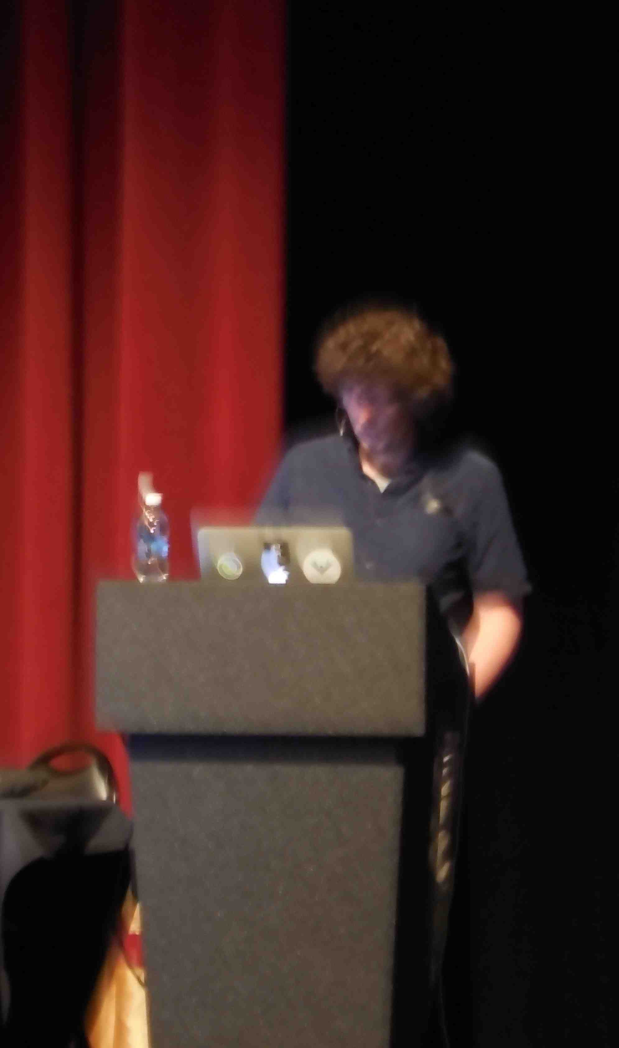 Rich Hickey setting up for his talk