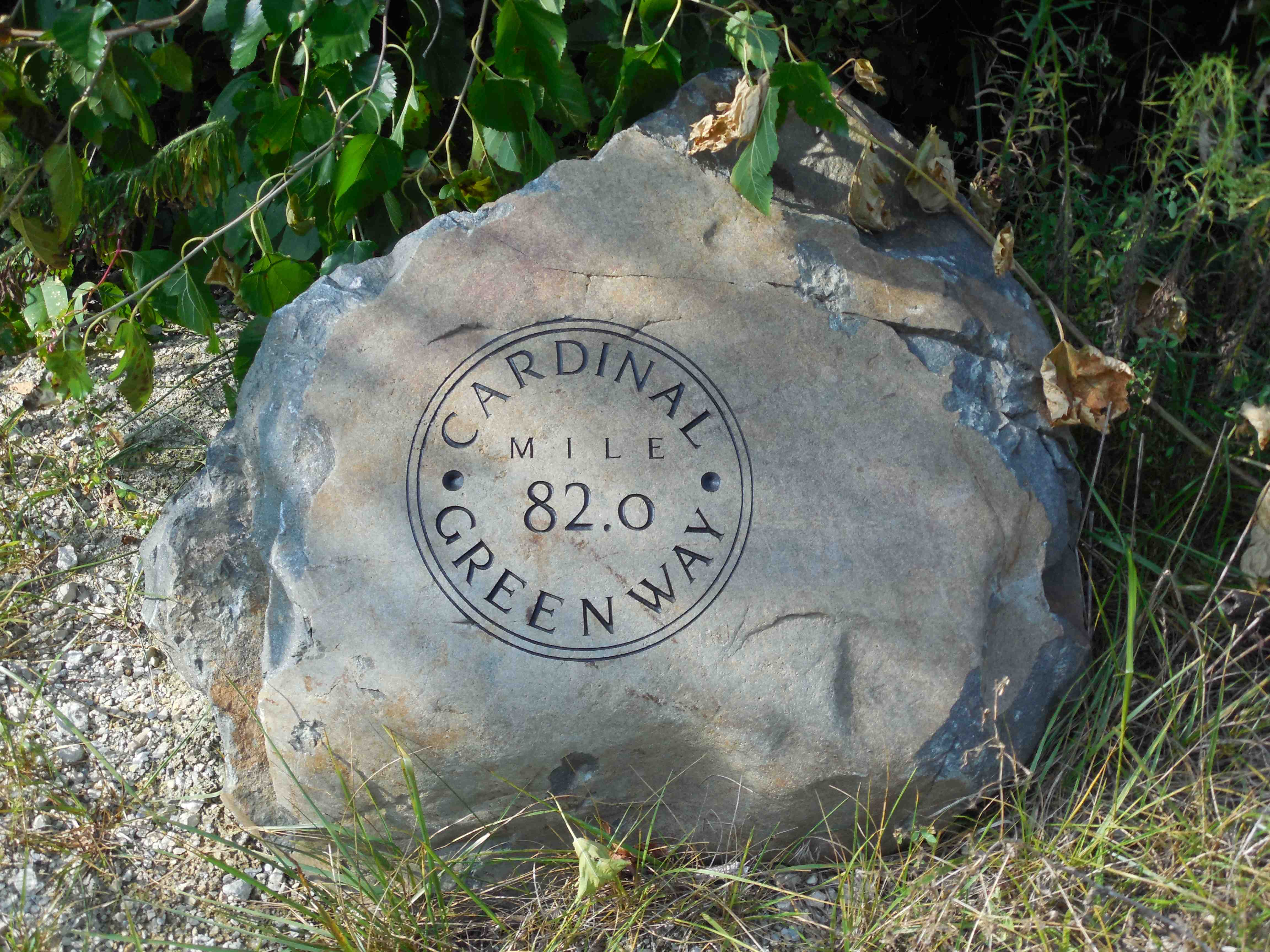 mile marker 82 on the Cardinal Greenway