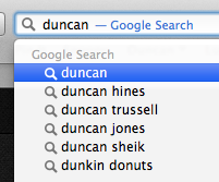 a NameSurfer cap of the popularity of Eugene versus Duncan