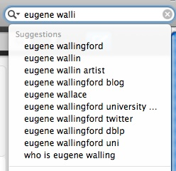 top ten Google search suggestions for 'eugene walli'