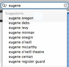 top ten Google search suggestions for 'eugene'