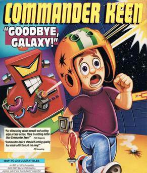 an example of the cover art for the Commander Keen series of games