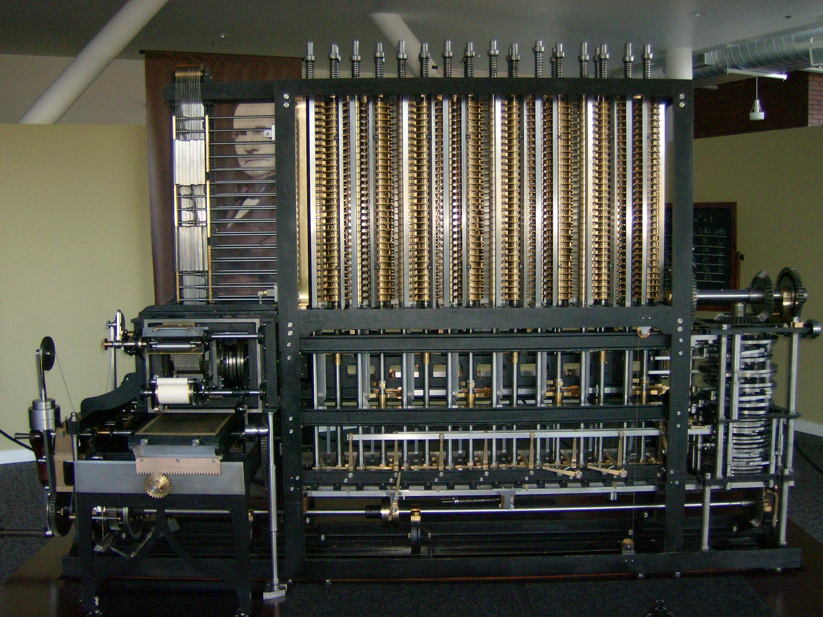 a photo of the Computer History Museum's Difference Engine