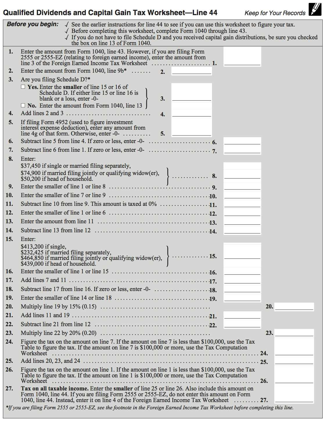 Qualified Dividend And Capital Gain Tax Worksheet - Davezan