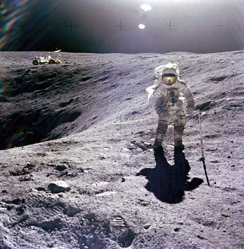 Charles Duke walking on the moon, Apollo 16