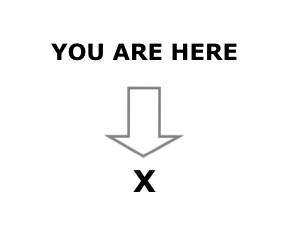 the famous You Are Here → X picture