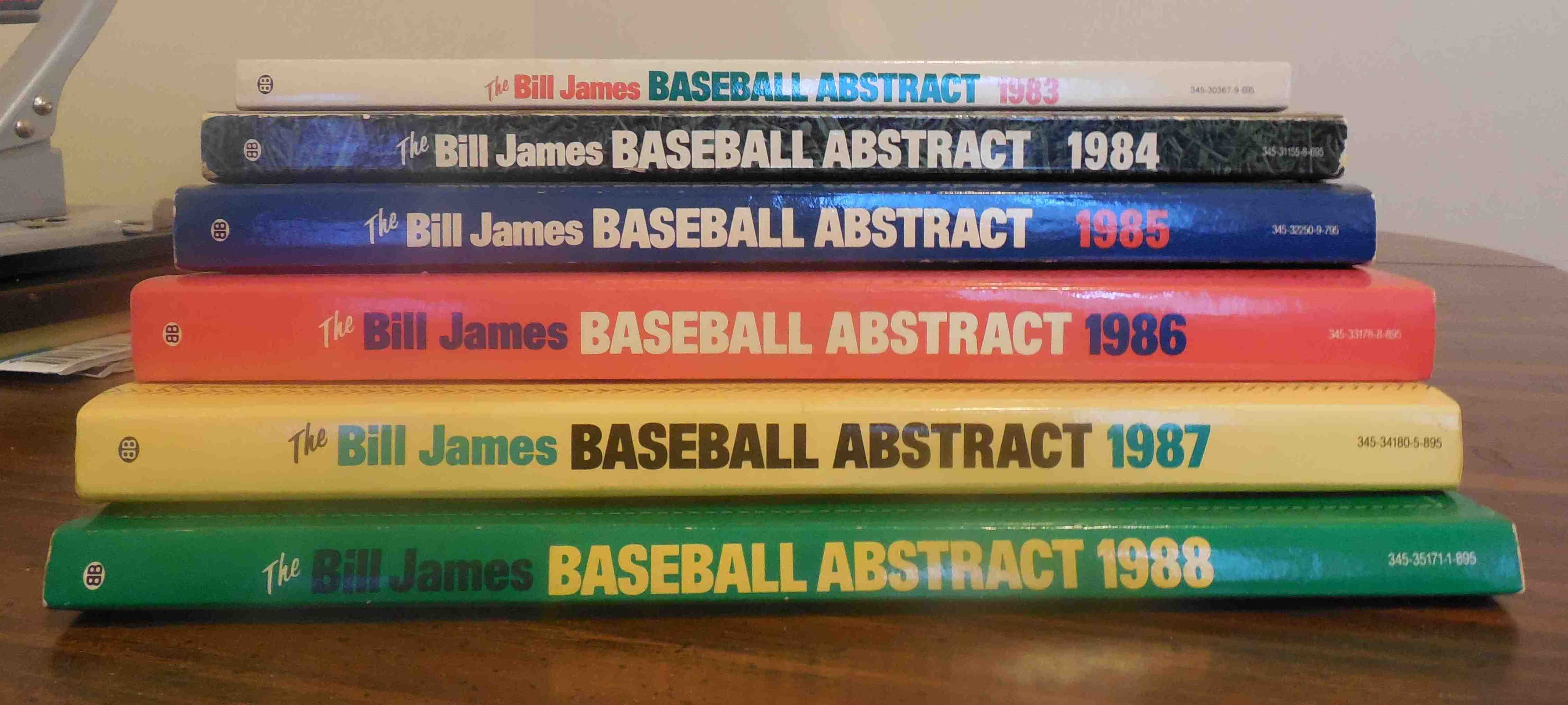 my stack of The Bill James Abstract, courtesy of Charlie Richter